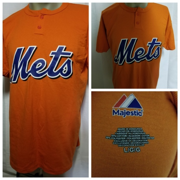 c3b4b0026 Majestic New York Mets MLB Orange Button L T-Shirt.  M_5b3e6ab5534ef9315ad9e428